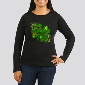 Fancy Irish 4 leaf Clover Women's Long Sleeve Dark