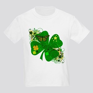 Fancy Irish 4 leaf Clover Kids Light T-Shirt