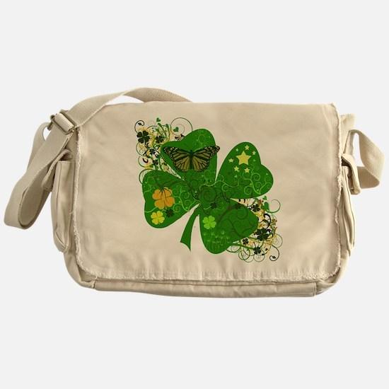 Fancy Irish 4 leaf Clover Messenger Bag
