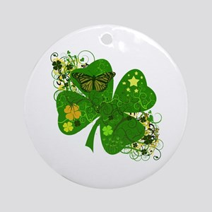 Fancy Irish 4 leaf Clover Ornament (Round)