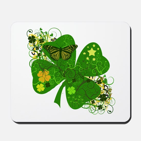 Fancy Irish 4 leaf Clover Mousepad