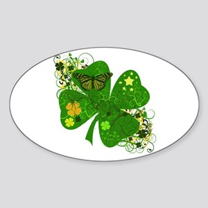 Fancy Irish 4 leaf Clover Sticker (Oval)