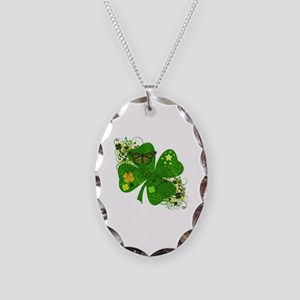 Fancy Irish 4 leaf Clover Necklace Oval Charm