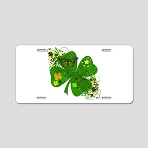 Fancy Irish 4 leaf Clover Aluminum License Plate