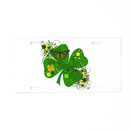 Fancy Irish 4 leaf Clover Aluminum License Plate