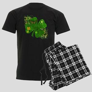 Fancy Irish 4 leaf Clover Men's Dark Pajamas