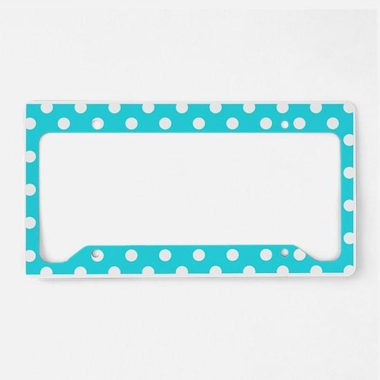 Teal Blue and White Polka Dot License Plate Holder