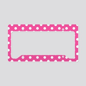 Pink and White Polka Dot License Plate Holder