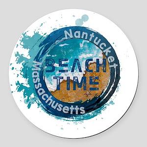 Massachusetts - Nantucket Round Car Magnet