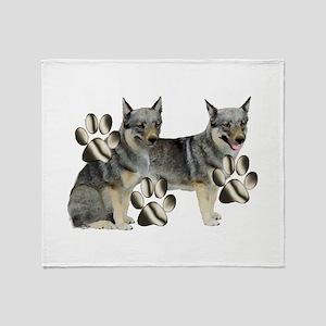 swedish valhund and Paw Print Throw Blanket