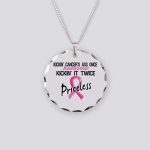 Kicking Ass Twice Breast Cancer Necklace Circle Ch