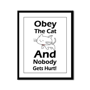 Obey the cat no one gets hurt Framed Panel Print