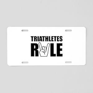 Triathletes Rule Aluminum License Plate