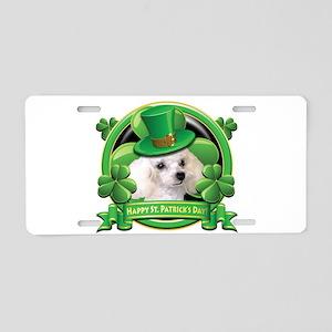 Happy St. Patrick's Day Poodl Aluminum License Pla