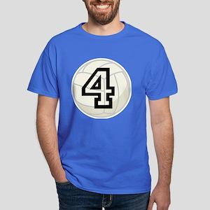 Volleyball Player Number 4 Dark T-Shirt
