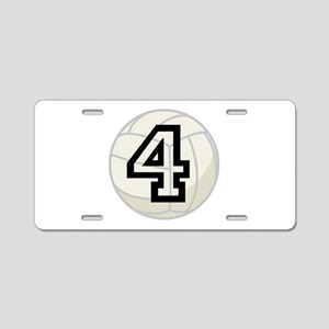 Volleyball Player Number 4 Aluminum License Plate