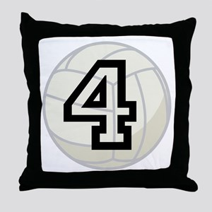 Volleyball Player Number 4 Throw Pillow