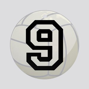 Volleyball Player Number 9 Ornament (Round)