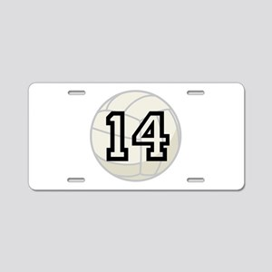 Volleyball Player Number 14 Aluminum License Plate