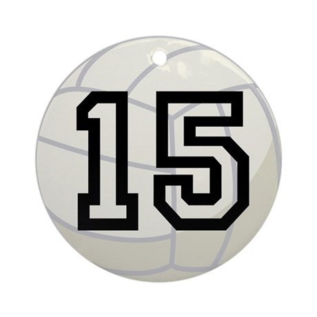Volleyball Player Number 15 Ornament (Round)