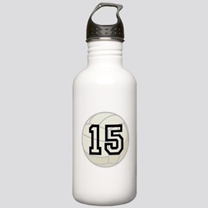 Volleyball Player Number 15 Stainless Water Bottle