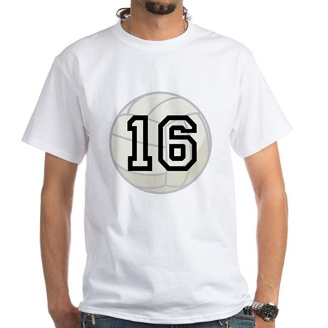 Volleyball Player Number 16 White T-Shirt