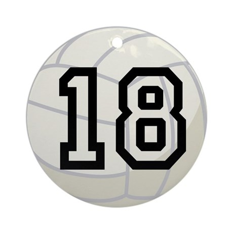 Volleyball Player Number 18 Ornament (Round)