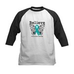 Believe Ovarian Cancer Kids Baseball Jersey