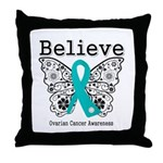Believe Ovarian Cancer Throw Pillow