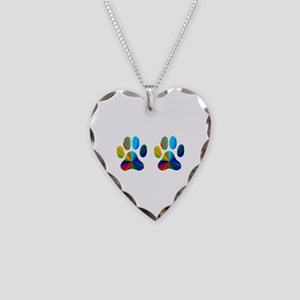 2 PAWS Necklace Heart Charm