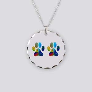 2 PAWS Necklace Circle Charm