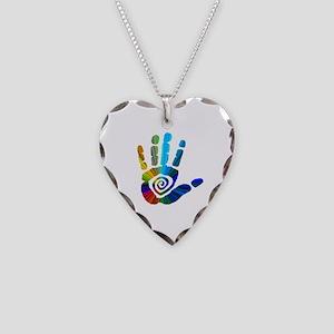 Massage Hand Necklace Heart Charm