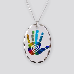 Massage Hand Necklace Oval Charm