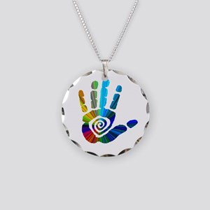 Massage Hand Necklace Circle Charm