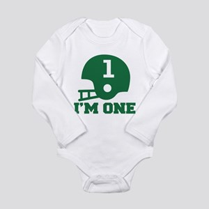 Cute 1st Birthday Football Long Sleeve Infant Body