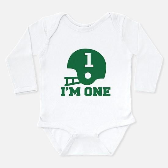 Cute 1st Birthday Football Long Sleeve Infant Body