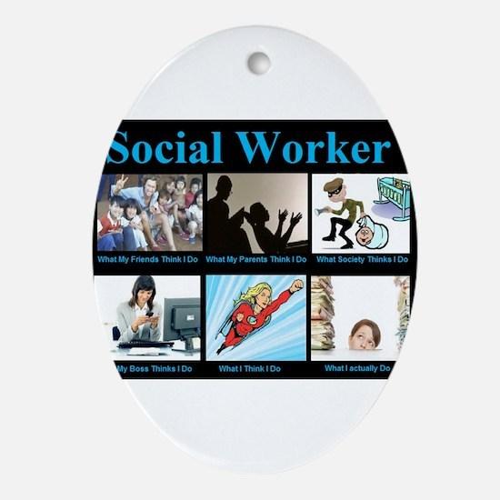 Social Worker Job Ornament (Oval)