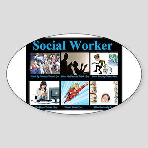 Social Worker Job Sticker (Oval)