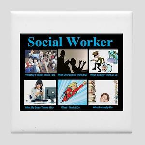 Social Worker Job Tile Coaster