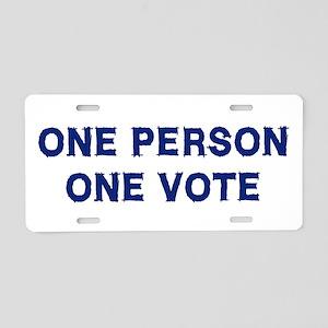One Person One Vote Aluminum License Plate