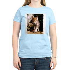 Approaching Wolf Pup Women's Pink T-Shirt