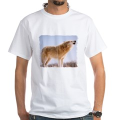 Howling White Wolf White T-Shirt
