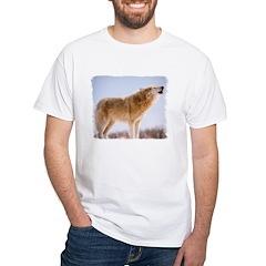 Howling White Wolf White T-Shirt