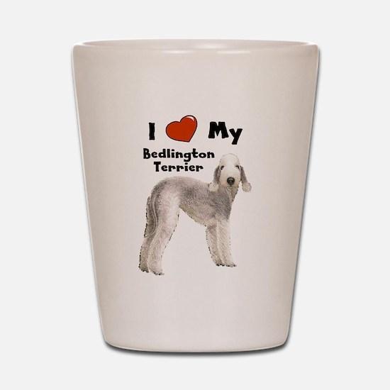I Love My Bedlington Terrier Shot Glass