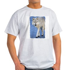 Approaching Wolf on Ice Ash Grey T-Shirt