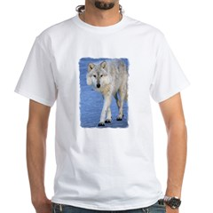 Approaching Wolf on Ice White T-Shirt
