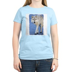 Approaching Wolf on Ice Women's Pink T-Shirt