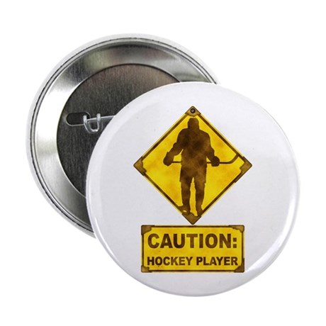 """Hockey Player Caution Sign 2.25"""" Button (100 pack)"""