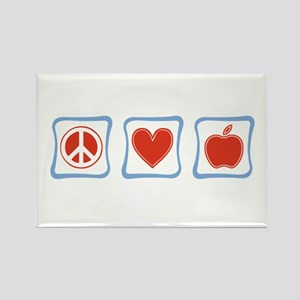 Peace, Love and Teachers Rectangle Magnet
