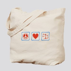 Peace, Love and Lawyers Tote Bag